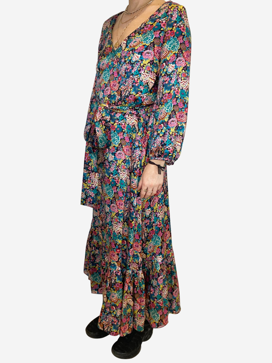 Blue and pink long sleeve floral belted midi dress - size UK 10
