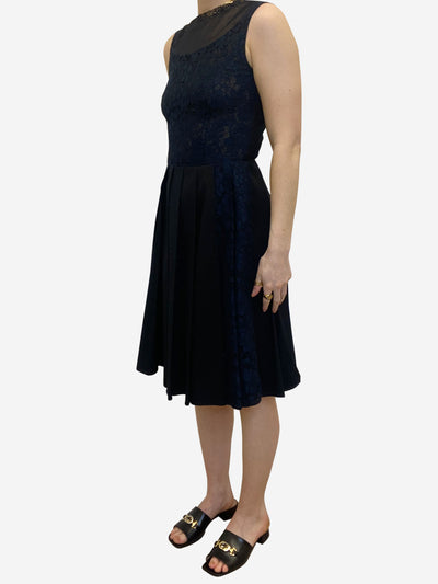 Navy & black lace front pleated dress - size IT 38