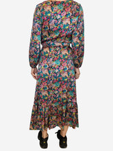 Load image into Gallery viewer, Blue and pink long sleeve floral belted midi dress - size UK 10