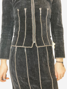 Black velvet and chain skirt suit set - size FR 34