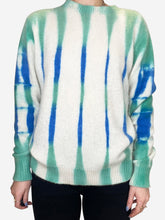 Load image into Gallery viewer, Beetle blue green and cream tie-dyed cashmere sweater - size XS