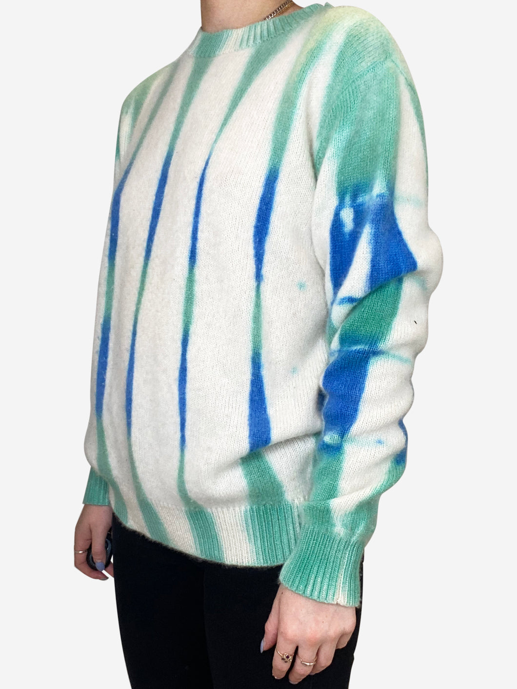 Beetle blue green and cream tie-dyed cashmere sweater - size XS