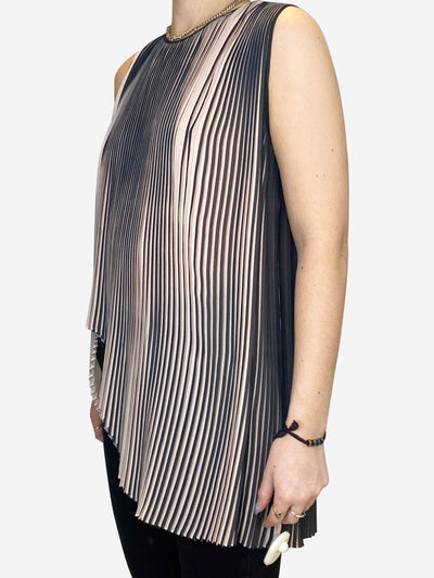 Pink and black 'Plisse' pleated vest top with asymmetric hem- size UK 8