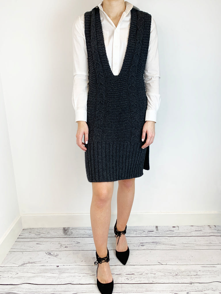 Prada Grey Cashmere Knitted V Neck Dress Size S RRP £1,290