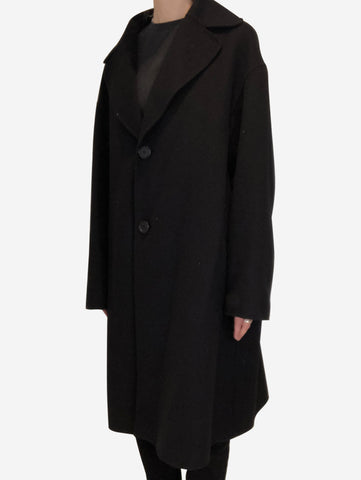 Black oversized single breasted coat - size IT 44