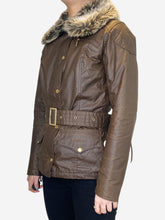 Load image into Gallery viewer, Brown short belted coat with faux fur collar - size UK 8