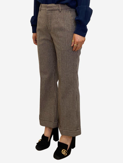 Brown tweed checked wool trousers - size FR 36