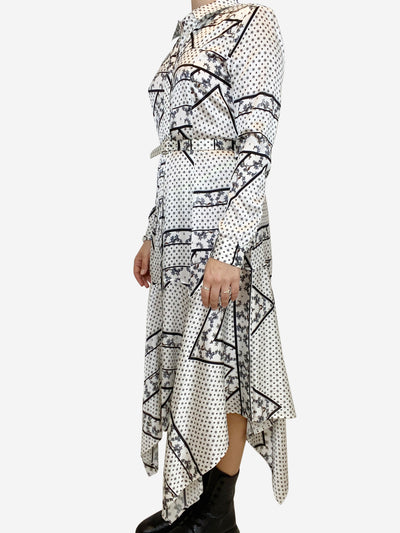 White and grey silky 'Blakely' paisley pattern dress with asymmetric hem- size UK 10