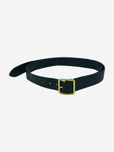 Black leather belt with gold buckle - 75cm