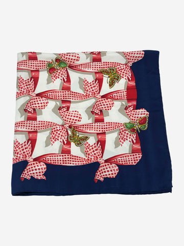 Navy & red bow & butterfly print silk scarf
