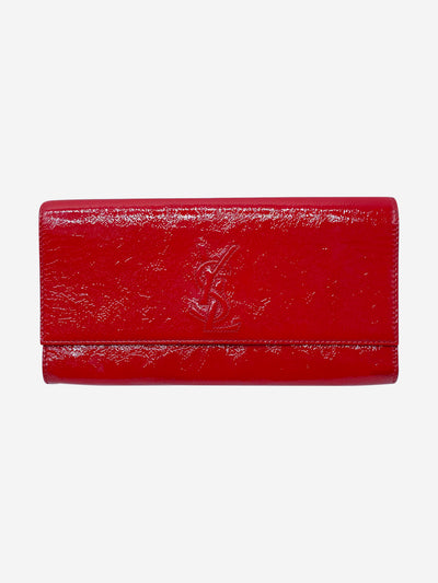 Red patent leather folding clutch