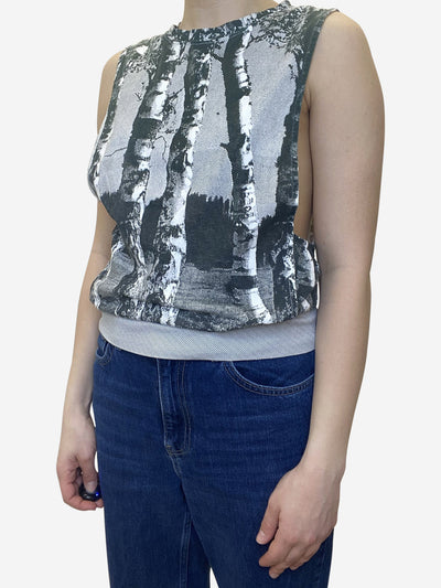 Green print cotton vest top - size S