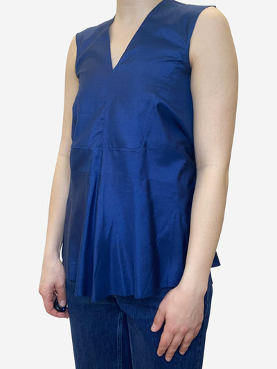Blue sleeveless silk peplum vest top - size UK 6