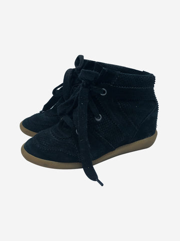 Bobby black wedge trainers in textured suede - size EU 38