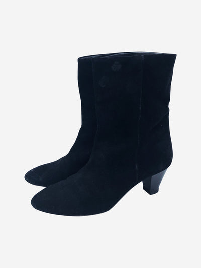 Black suede low heeled ankle boots - size EU 39