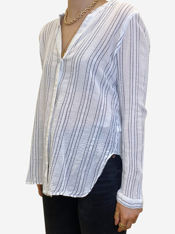 White & charcoal striped shirt - size S