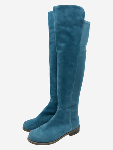 Teal 50/50 suede over the knee boots - size UK 3