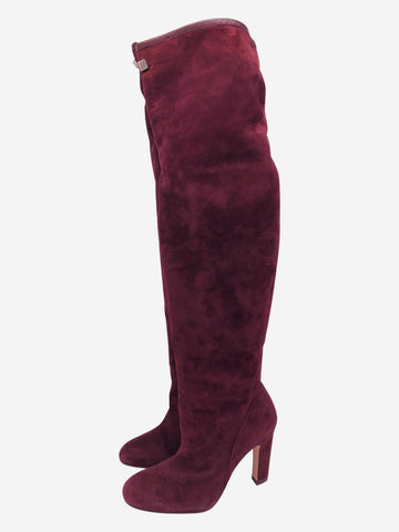 Burgundy suede over-the-knee heeled boots - size EU 38