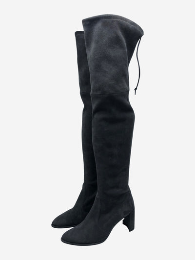 Grey stretch suede over-the-knee heeled boots - size EU 38.5