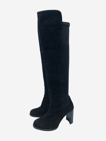 Black suede elastic panel knee high heeled boots - size EU 38.5