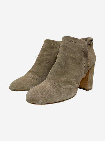 Nude suede ankle boots with chain - size EU 39 (UK 6)