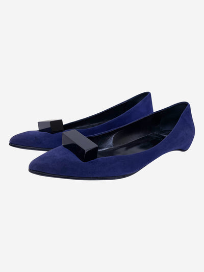 Blue suede ballet flats with block buckle - size EU 40 (UK 7)