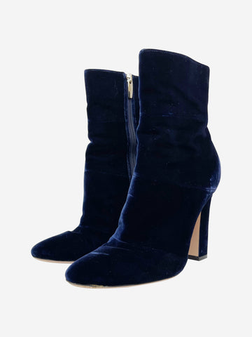 Navy velvet heeled boots - size EU 39 (UK 6)