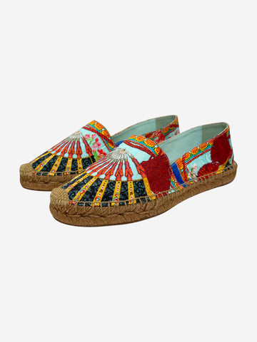 Red and blue print espadrilles - size EU 39 (UK 6)