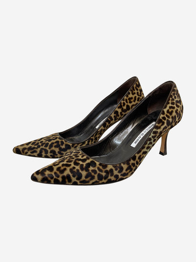 Brown animal print court heels - size EU 39 (UK 6)