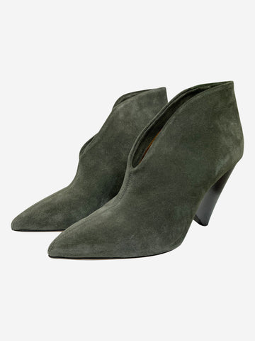 Khaki green pointed toe ankle boots - size EU 39 (UK 6)