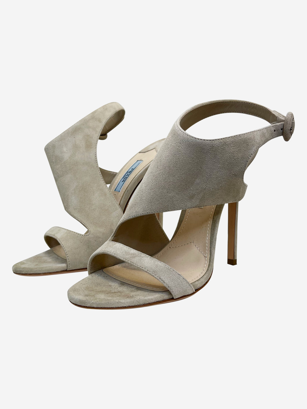 Nude suede wrap around peep toe heeled sandals - size EU 38 (UK 5)