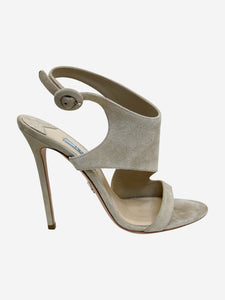 Prada Nude suede wrap around peep toe heeled sandals - size EU 38 (UK 5)