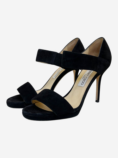 Black bar heeled sandals - size EU 38.5 (UK 5.5)