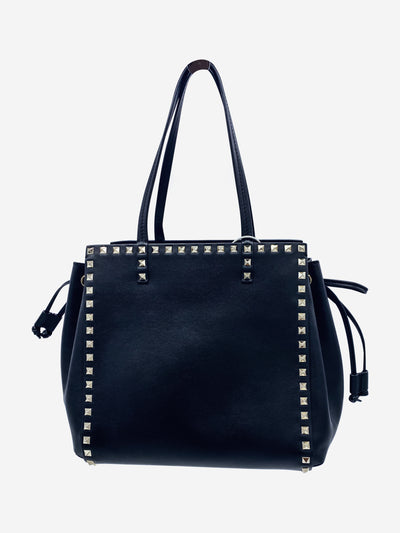 Black leather shoulder bag with silver rockstuds