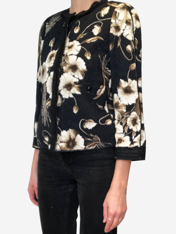 Black and beige floral textured jacket - size FR 40