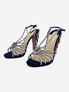 Black strappy heels with silver tassle accents - size EU 39