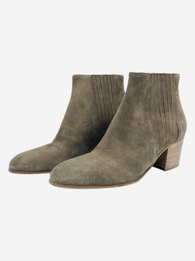 Taupe suede heeled ankle boots- size EU 39
