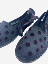 Load image into Gallery viewer, Black mesh espadrilles with plum velvet polkadots and ribbon tie ankle- size EU 39