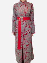 Load image into Gallery viewer, Grey and red textured full length jacket - size L