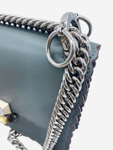 Load image into Gallery viewer, Blue grey crossbody bag with rust leather edging and silver metal chain