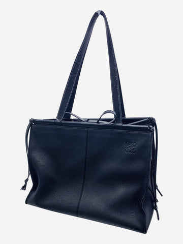 Black leaether tie top shopper tote bag