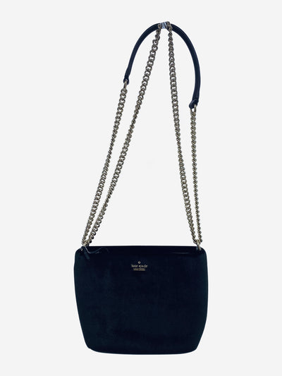 Black velvet square crossbody with gold chain hardware