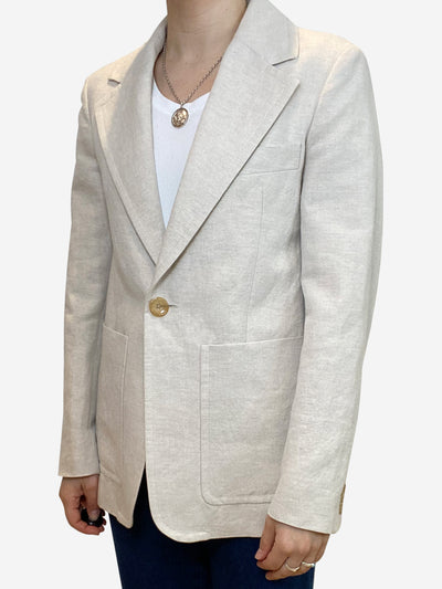 Cream linen single button blazer - size UK 8