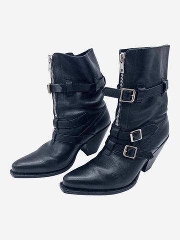 Black heeled leather ankle boots with pointed toe- size EU 36 (UK 3)