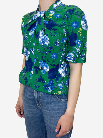 Green floral print top - size UK 10