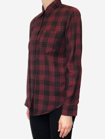 Burgundy and black plaid shirt - size S