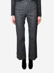 Zadig & Voltaire Grey and red check wool trousers - size FR 36