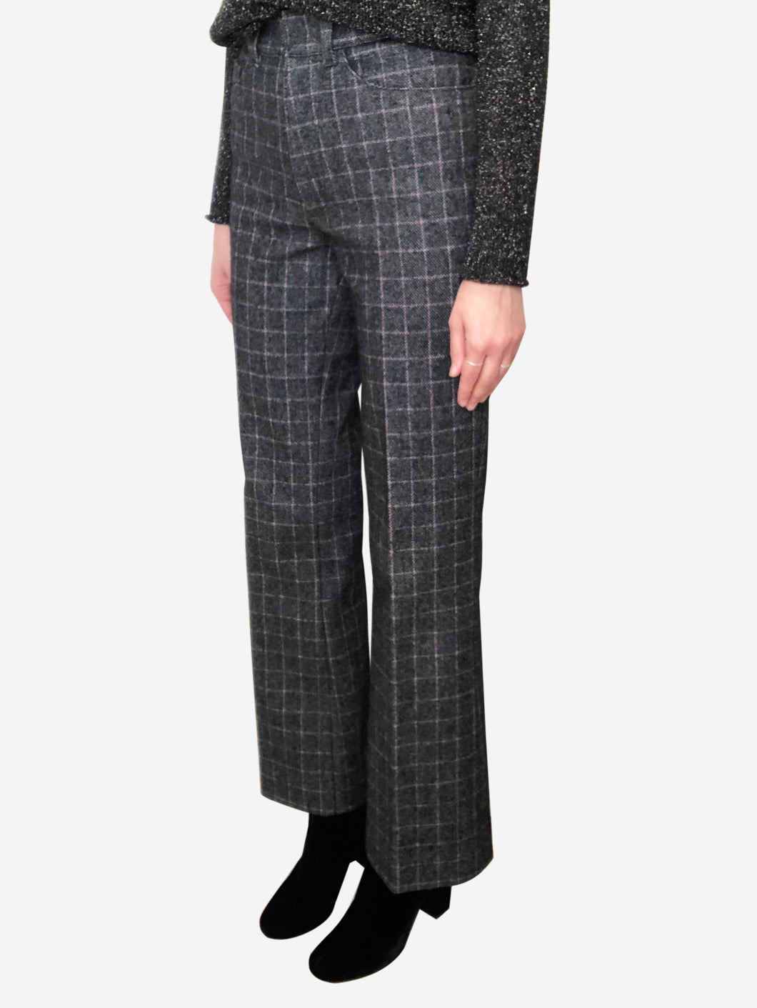 Grey and red check wool trousers - size FR 36