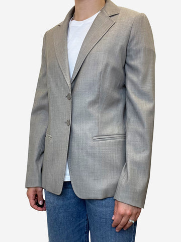 Grey tailored double button blazer jacket - size UK 10