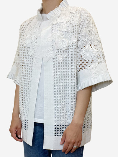 White applique lace eyelet overshirt - size UK 12